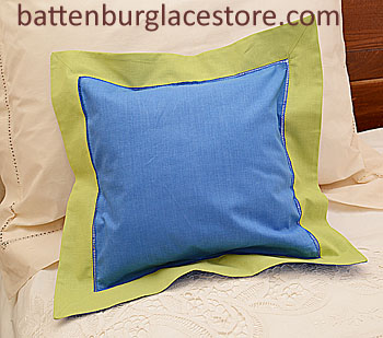 "Pillow Sham.12""x12"" Square. French Blue with Macaw Green Border"